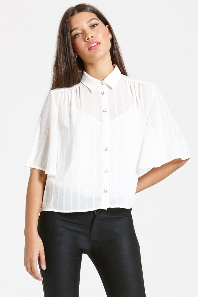 Girls on Film Cream Loose-fit Shirt