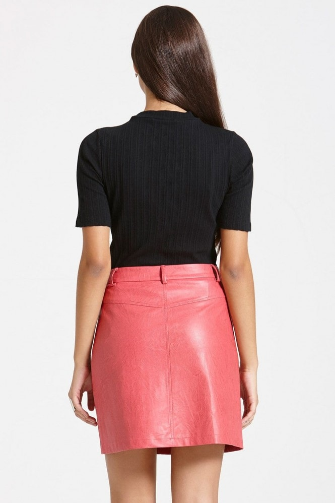 Outlet Girls On Film Faux Leather A-Line Skirt