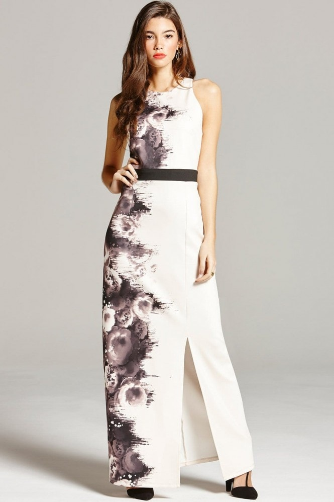 Black and Nude Rose Print Maxi Dress