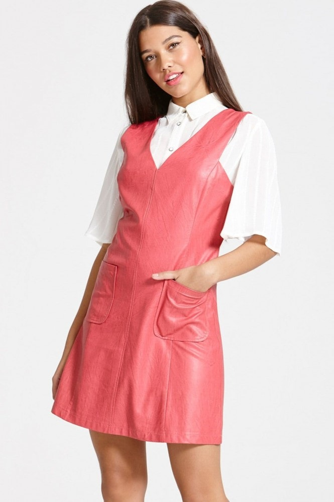Outlet Girls On Film Rasberry faux Leather Dress