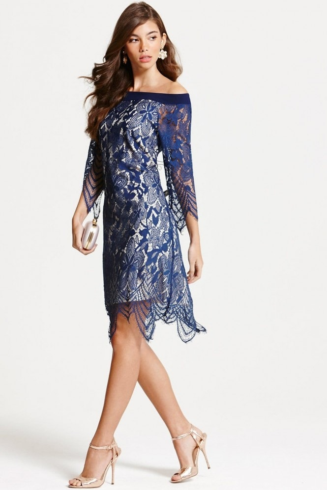 Navy Lace Bardot Tunic Dress