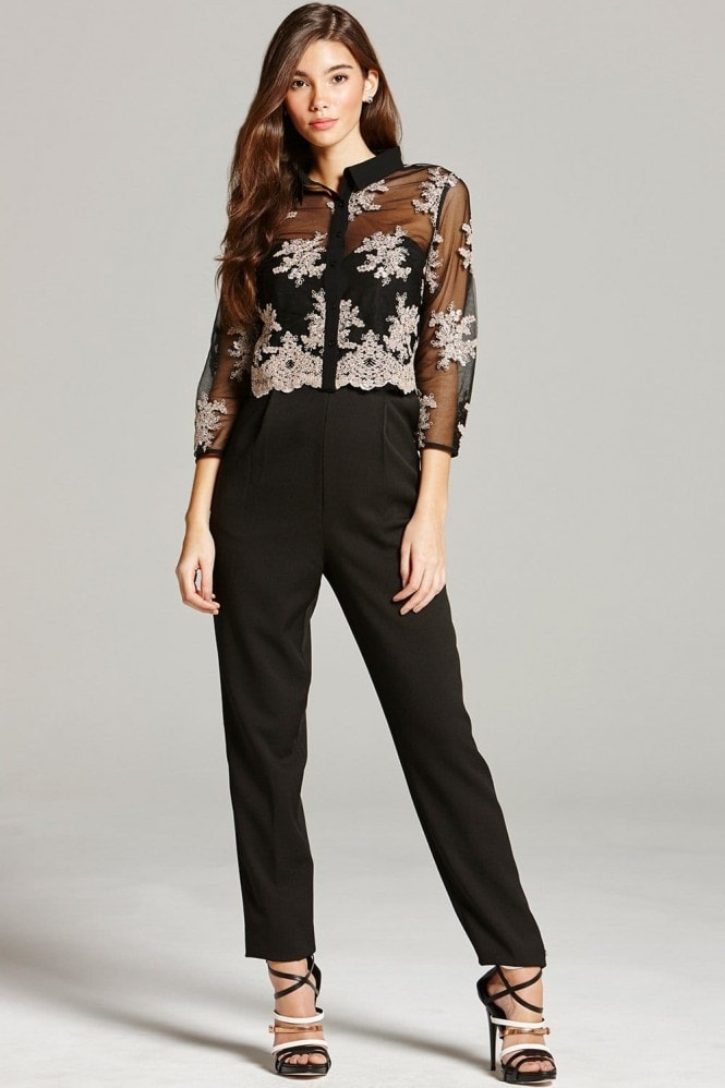 Little Mistress Black and Caramel Embroidered Jumpsuit
