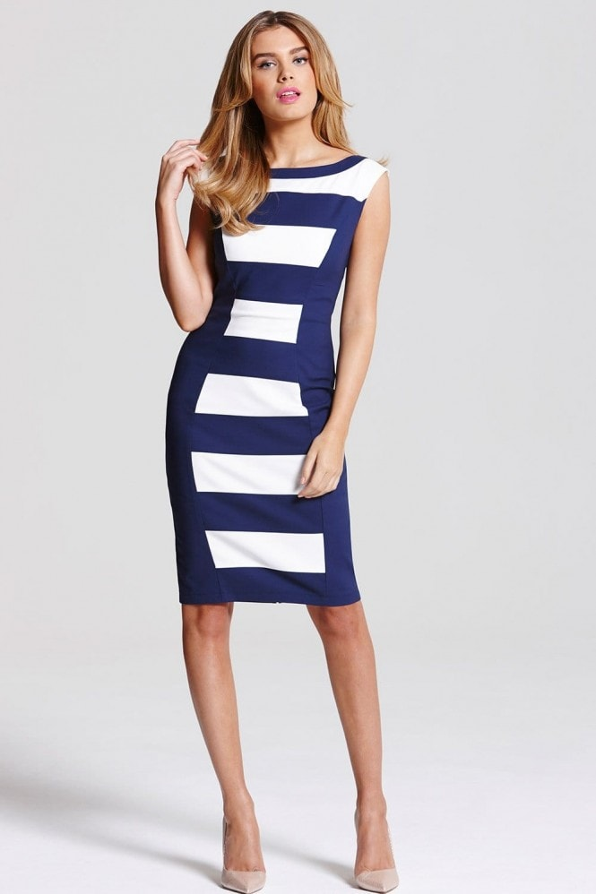 Outlet Paper Dolls Navy and Cream Stripe Panel Dress
