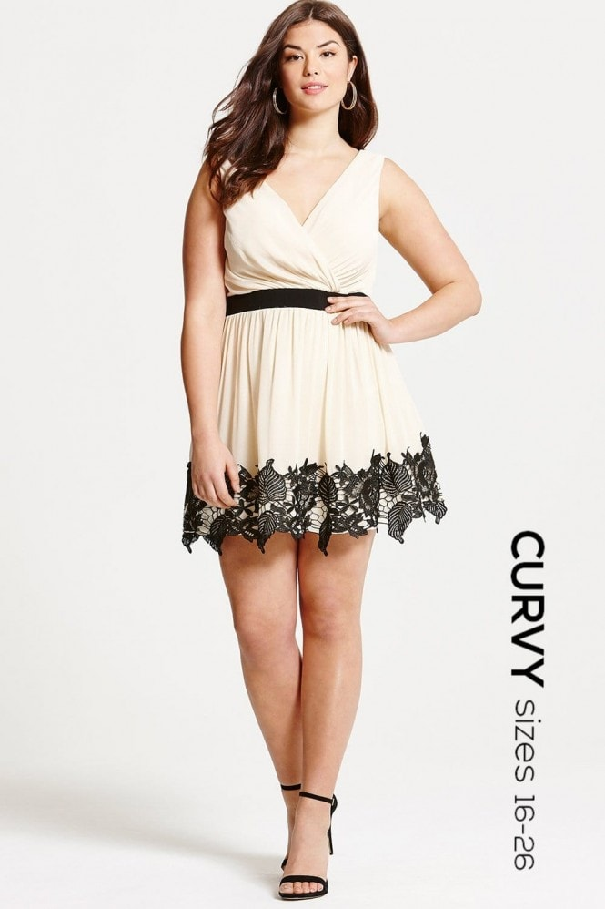 Little Mistress Curvy Cream and Black Lace Border Mini Dress