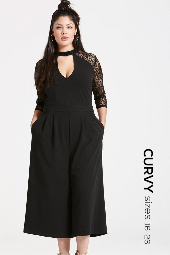 Outlet Girls On Film Black Lace Sleeve Jumpsuit