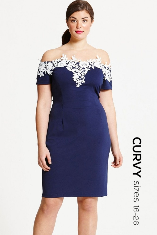 Paper Dolls Curvy Navy and Cream Applique Dress