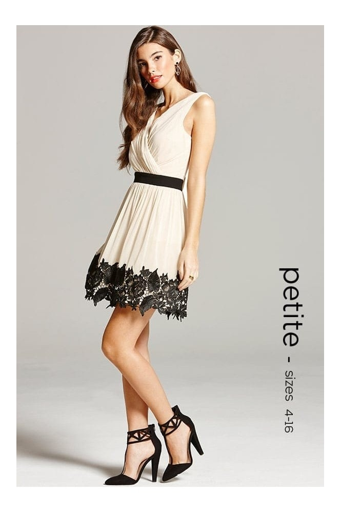 Cream and Black Lace Border Prom Dress - from Little Mistress UK