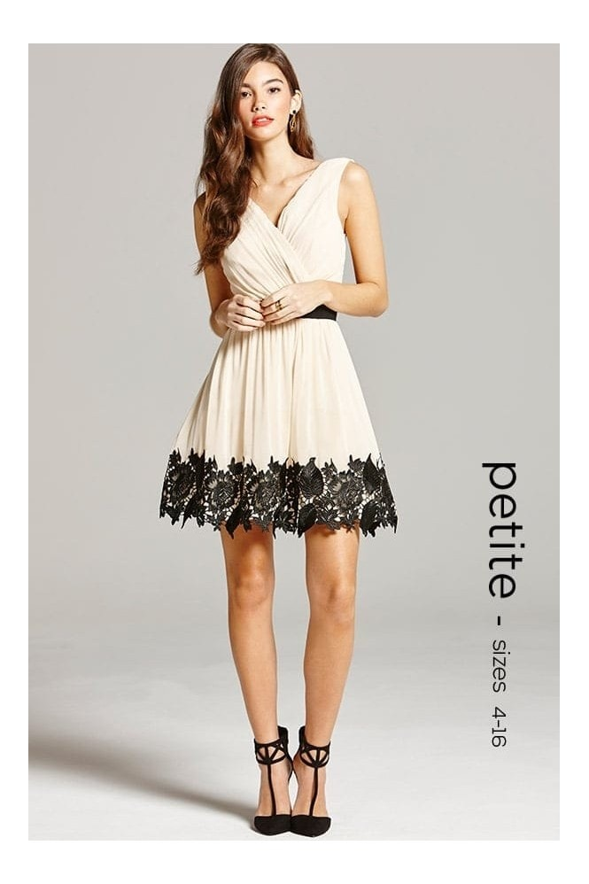 Cream and Black Lace Border Prom Dress