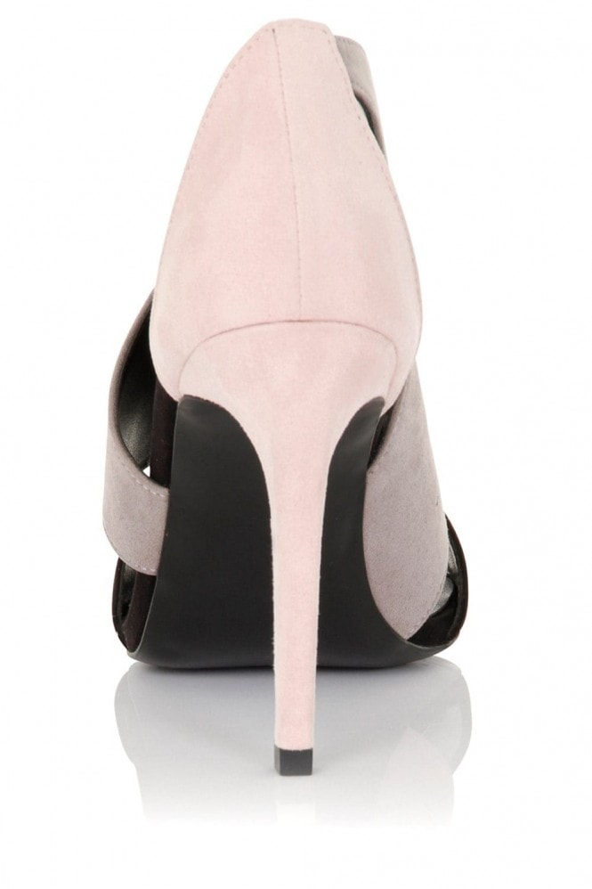 Little Mistress Footwear Rhea Pink Grey And Black Cut Out Boots