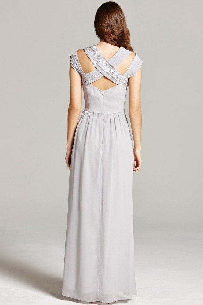 Little Mistress Grey Crossover Empire Maxi Dress