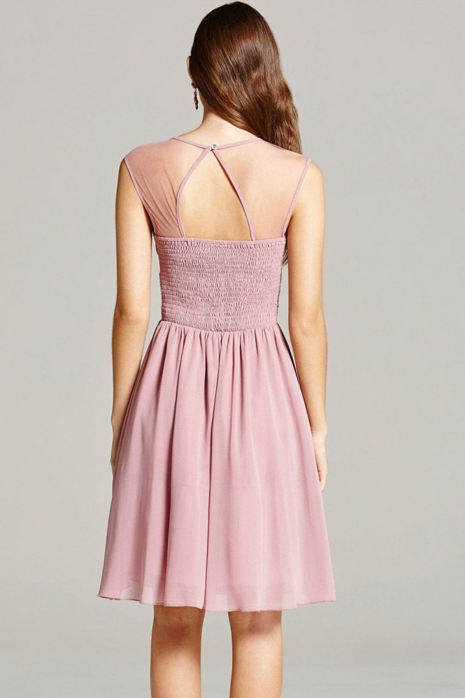Dusty Pink Embellished and Drape Front Prom Dress