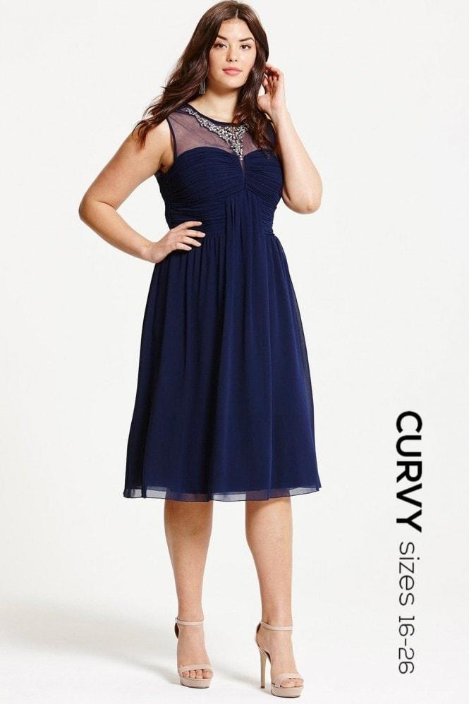 Little Mistress Curvy Navy Embellished and Drape Front Midi Dress