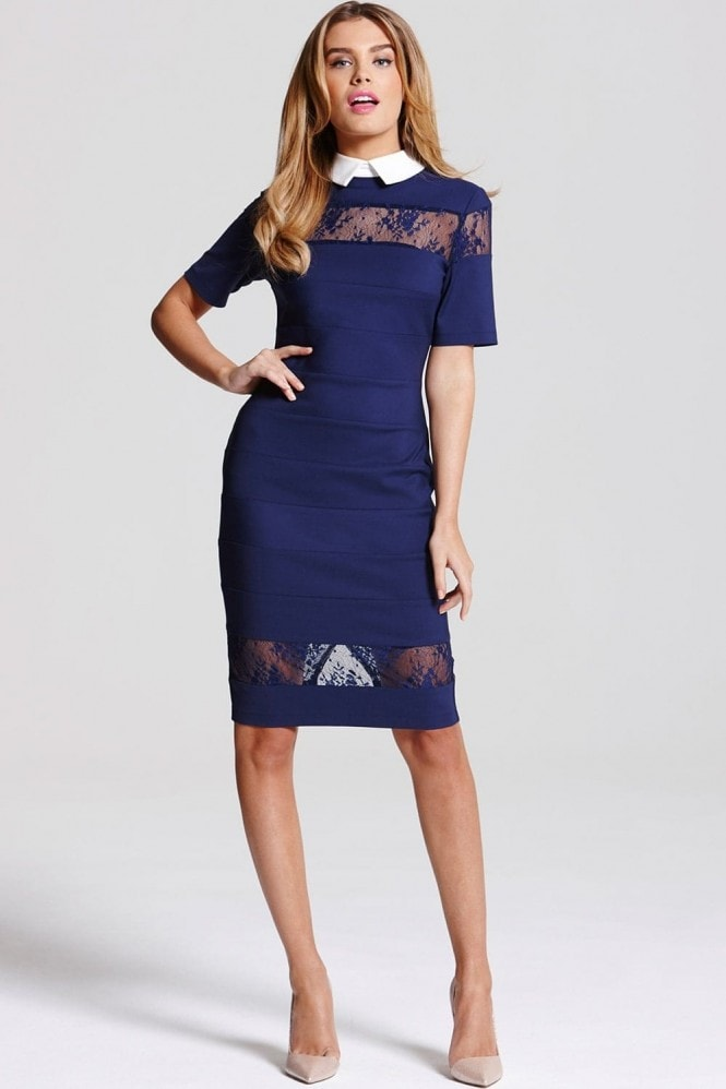 Paper Dolls Navy Lace Collar Dress