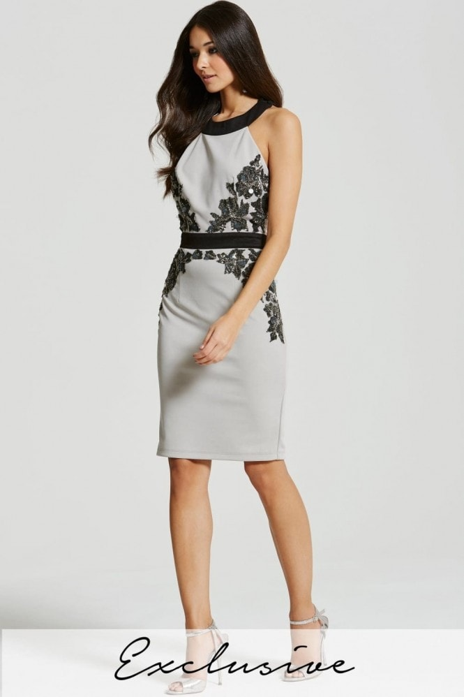 Little Mistress Grey Embellished Waist Bodycon Dress