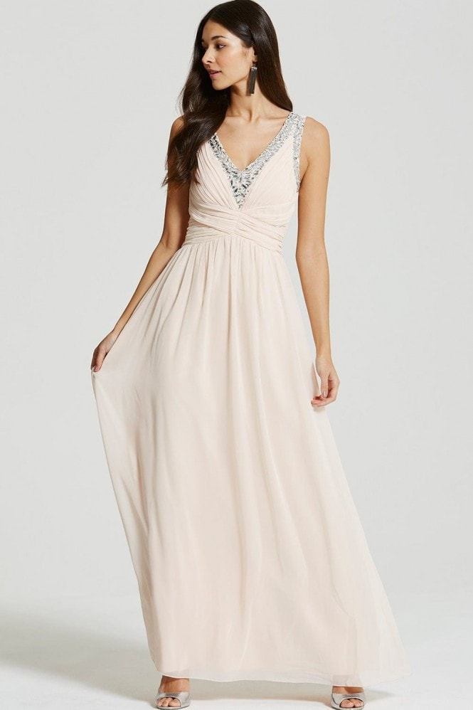 Nude Embellished Plunge Maxi Dress