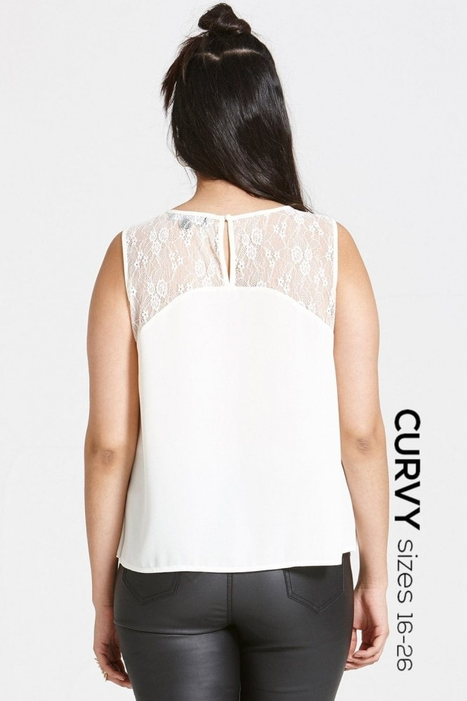 Girls on Film Cream Chiffon and Lace Top