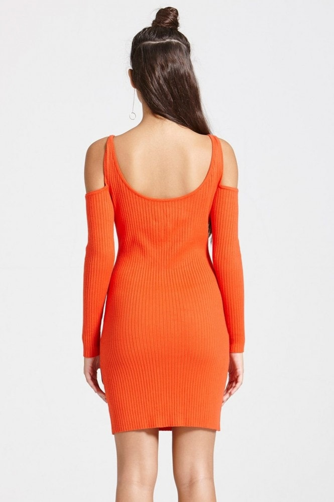 Outlet Girls On Film Tomato Colour Ribbed Jumper Bodycon