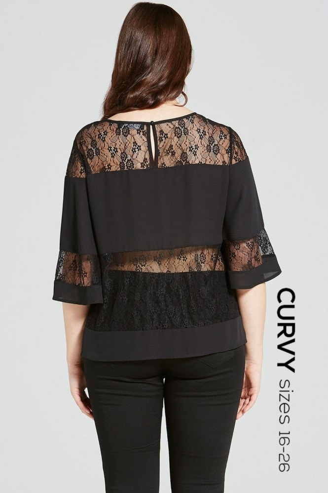Girls On Film Curvy Black Lace Stripe Flared Top