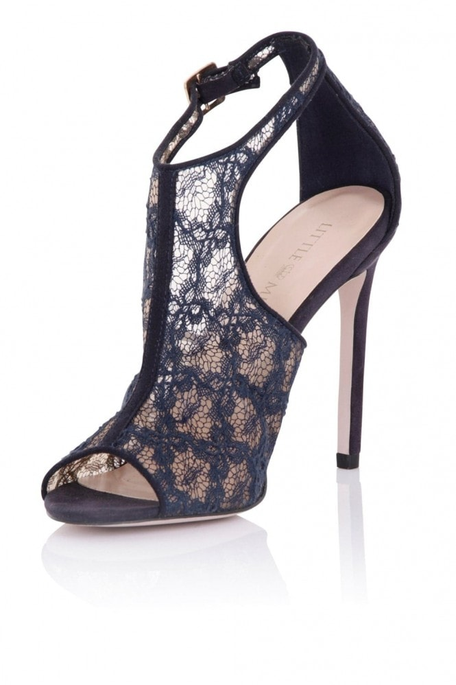 Little Mistress Footwear Gaia Navy Lace Cut Out Shoe Boot