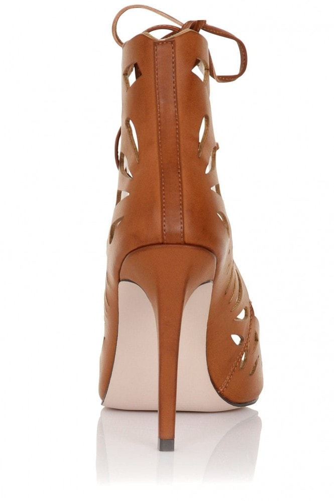 Little Mistress Footwear Aphrodite Tan Lace Up Heels