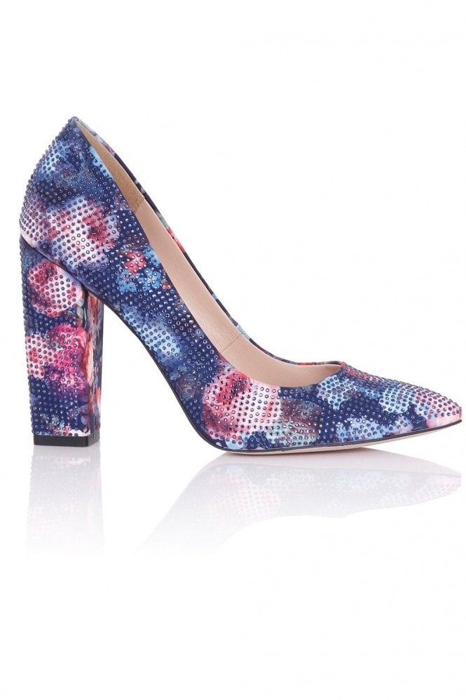 Little Mistress Footwear Asteria Navy Floral Embellished Block Heel Court