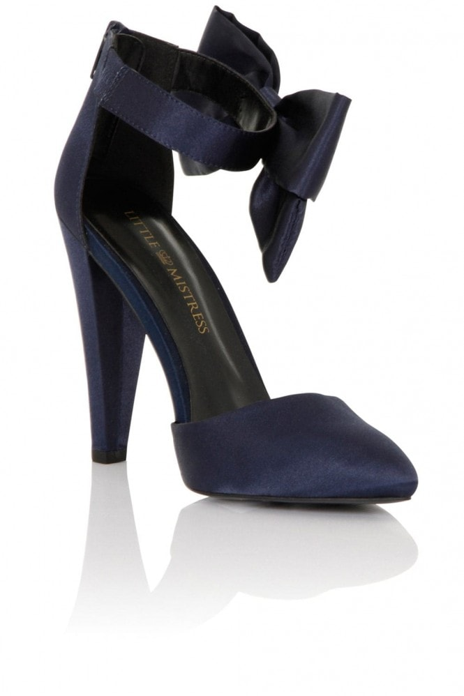 Little Mistress Footwear Fortuna Navy Satin Heel with Bow
