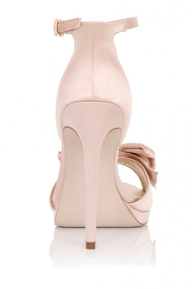 Little Mistress Footwear Hera Blush Satin Heeled Sandals with Bow