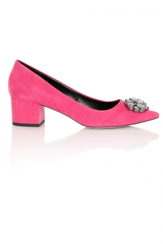 Little Mistress Footwear Ananke Pink Brooch Mid Court Shoe
