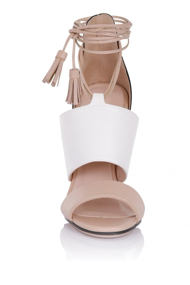 Paper Dolls Footwear Nixie Tan and White Sandals with Tassels