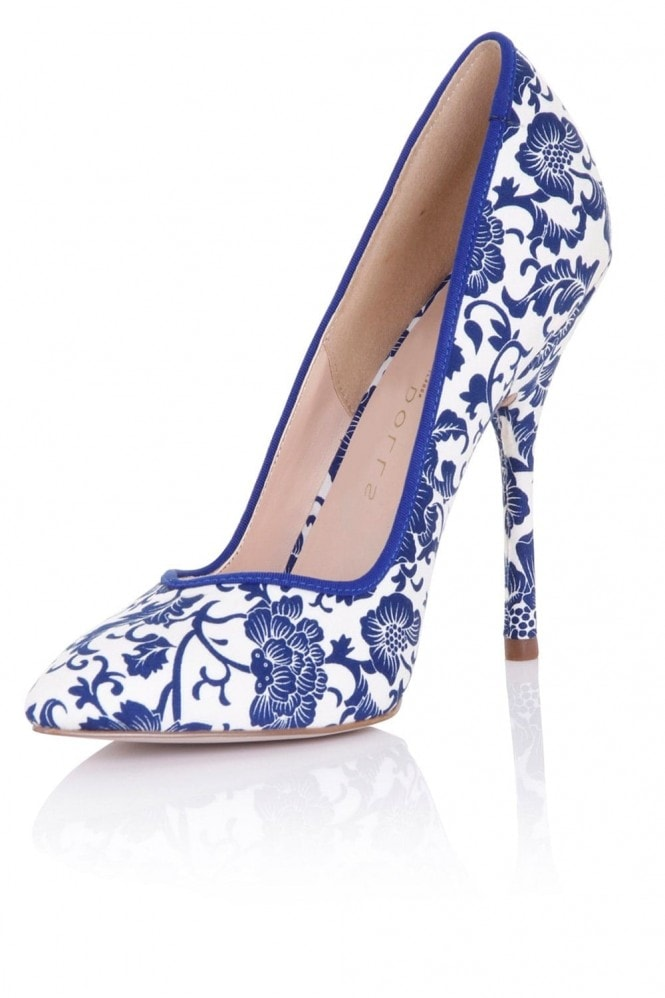 Outlet Paper Dolls Blossom Blue Floral Print Court Shoe