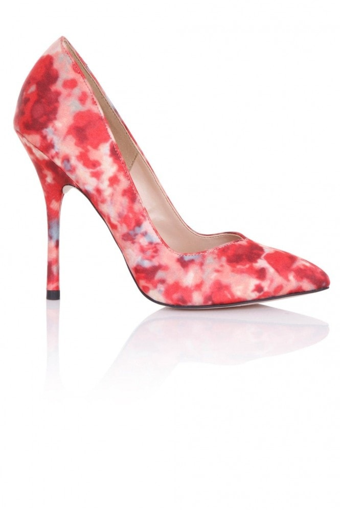 Paper Dolls Footwear Blossom Red Print Court Shoes