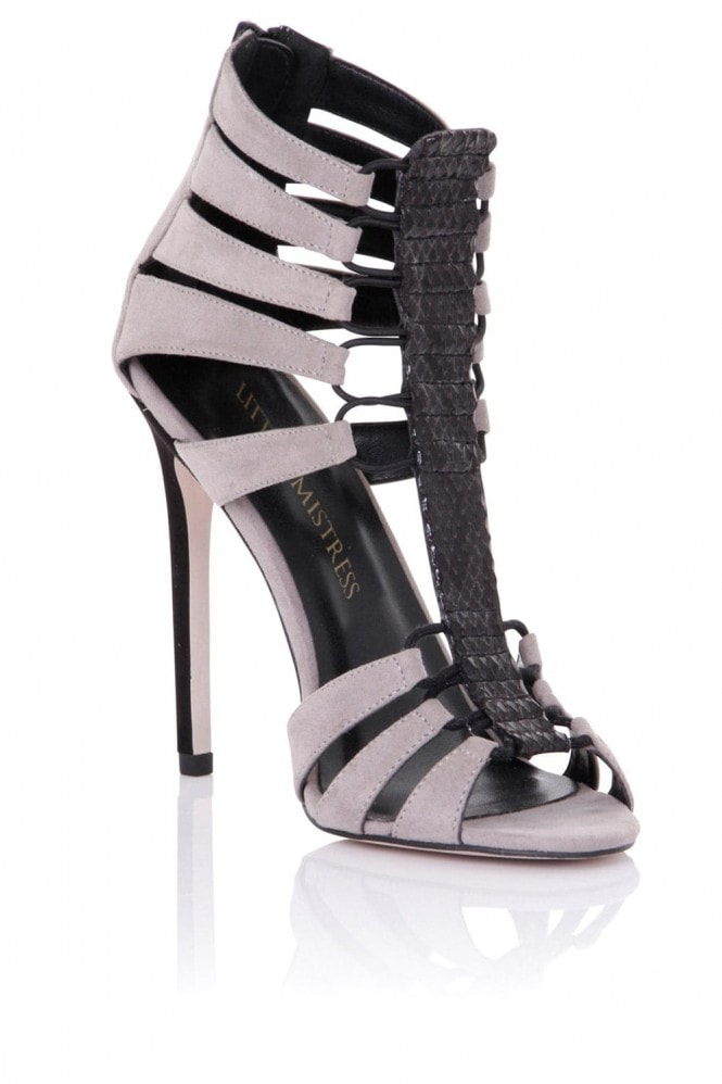 Little Mistress Footwear Athena Grey Cage Heeled Sandals