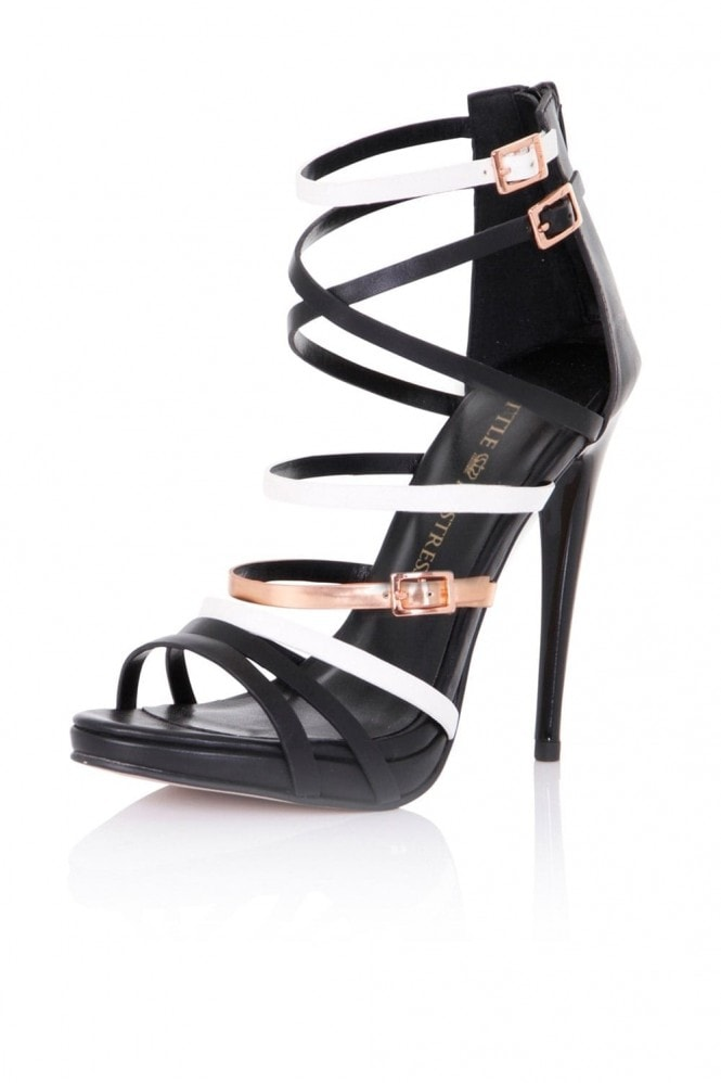 Little Mistress Footwear Theia Black, White and Gold Strap Sandals