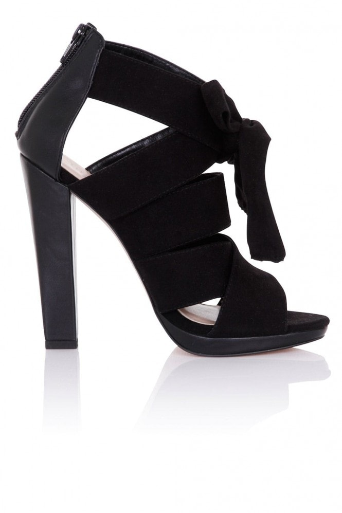 Little Mistress Footwear Nyx Black Heeled Sandals with Bow
