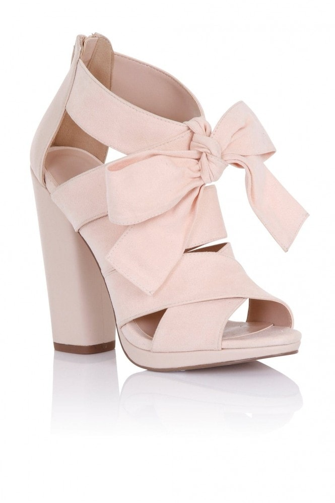 Little Mistress Footwear Nyx Nude Heeled Sandals with Bow