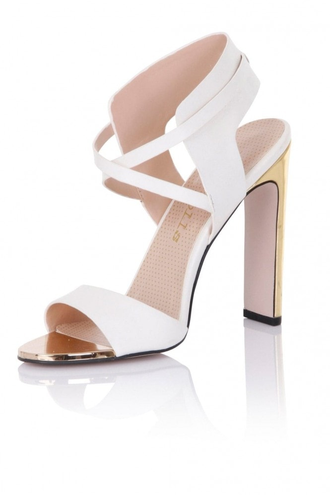Paper Dolls Footwear Luella White Cut Out Heeled Sandal