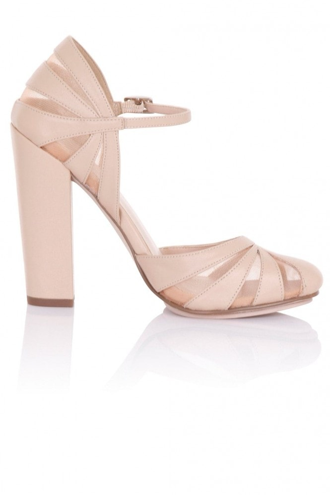 Paper Dolls Footwear Elvie Nude Sheer Pattern Block Heels