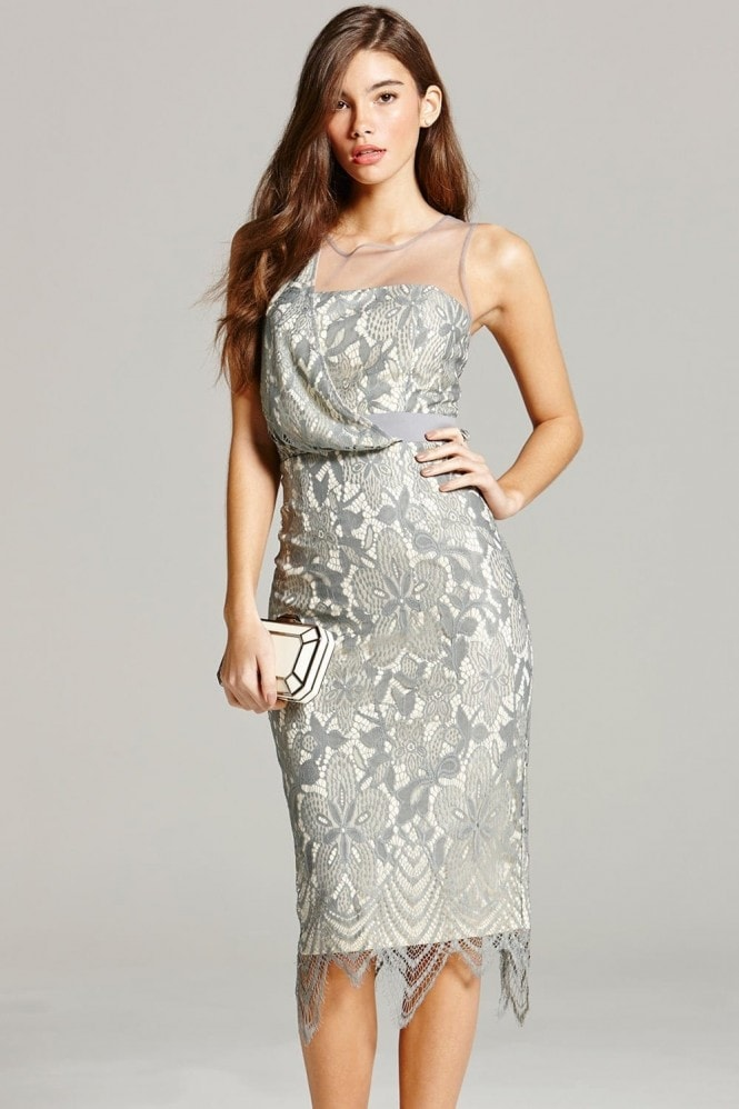 Grey Lace Bodycon Dress