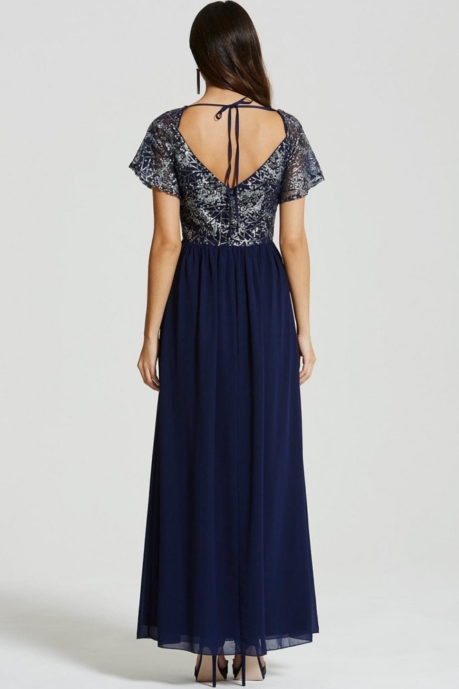 Navy and Gold Maxi Sequin Dress