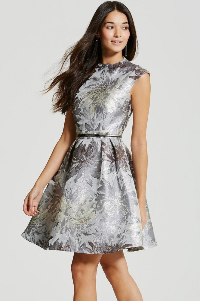 Little Mistress Silver Jacquard Skater Dress