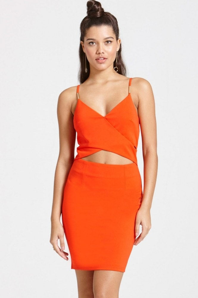 Outlet Girls On Film Bright Tomato Cut Out Dress