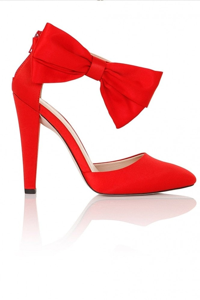 Little Mistress Footwear Fortuna Red Satin Heel with Bow