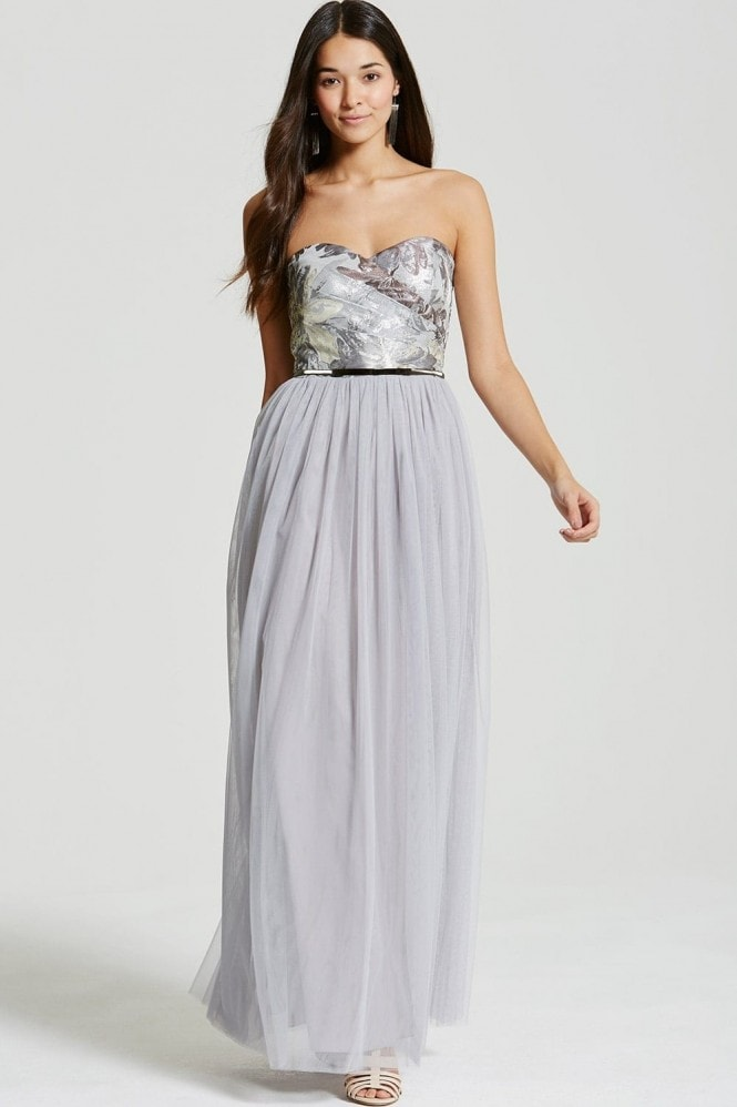 Little Mistress Silver Jacquard Bandeau Maxi Dress