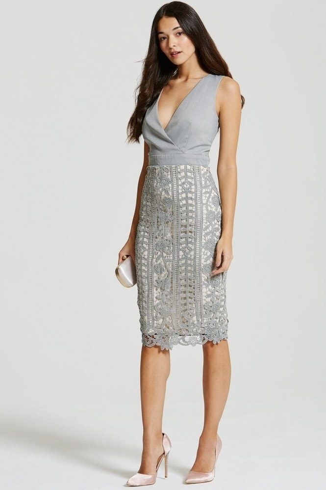 Little Mistress Grey Crochet Lace Wrap Front Midi Bodycon Dress