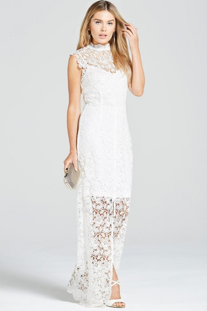 Paper Dolls White Crochet Split Front Maxi Dress