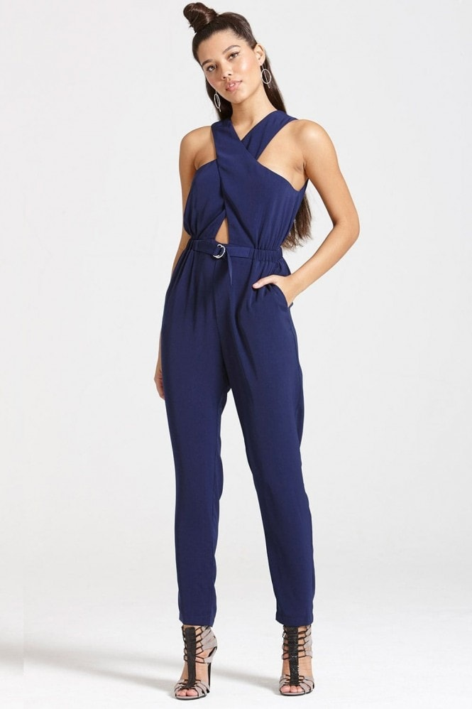 Outlet Girls On Film Navy Crossed Chest Jumpsuit