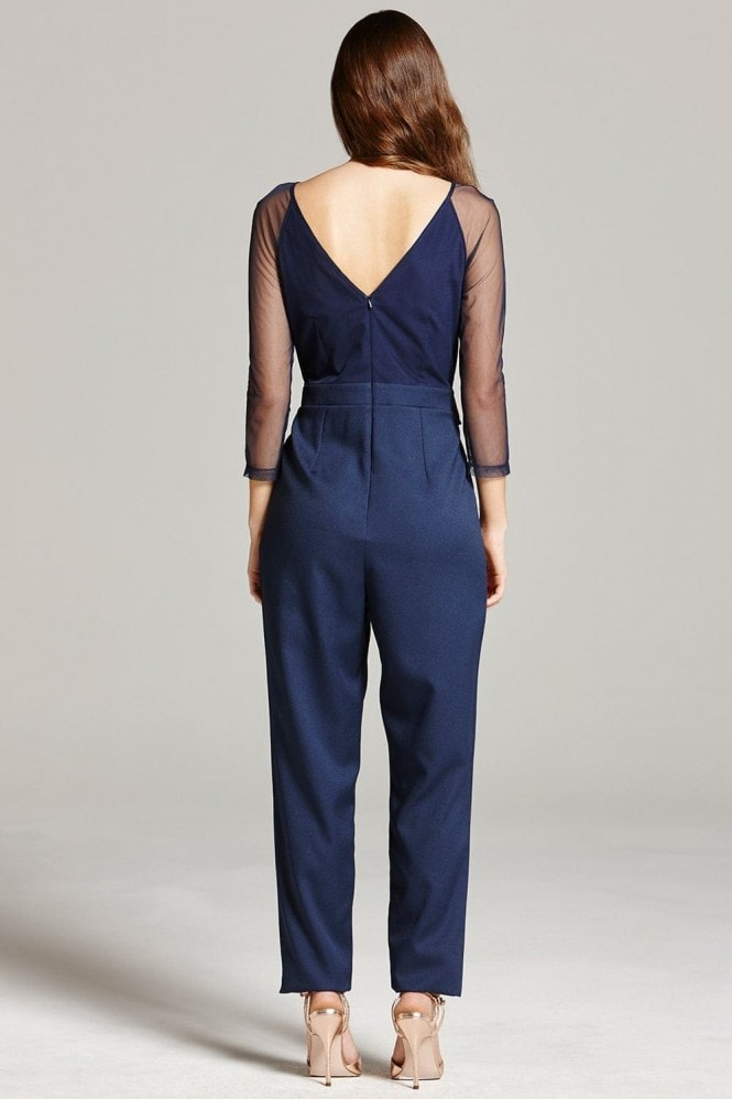 Little Mistress Navy Embroidered Sheer Jumpsuit