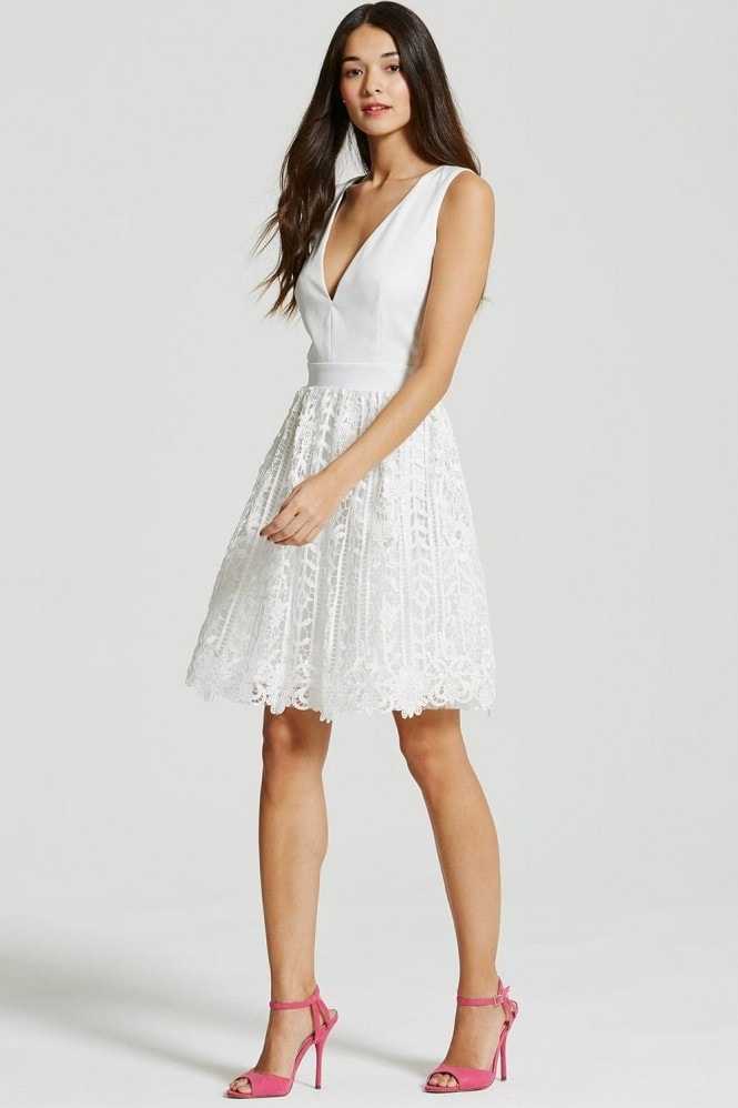 White Crochet Lace Plunge Mini  Dress