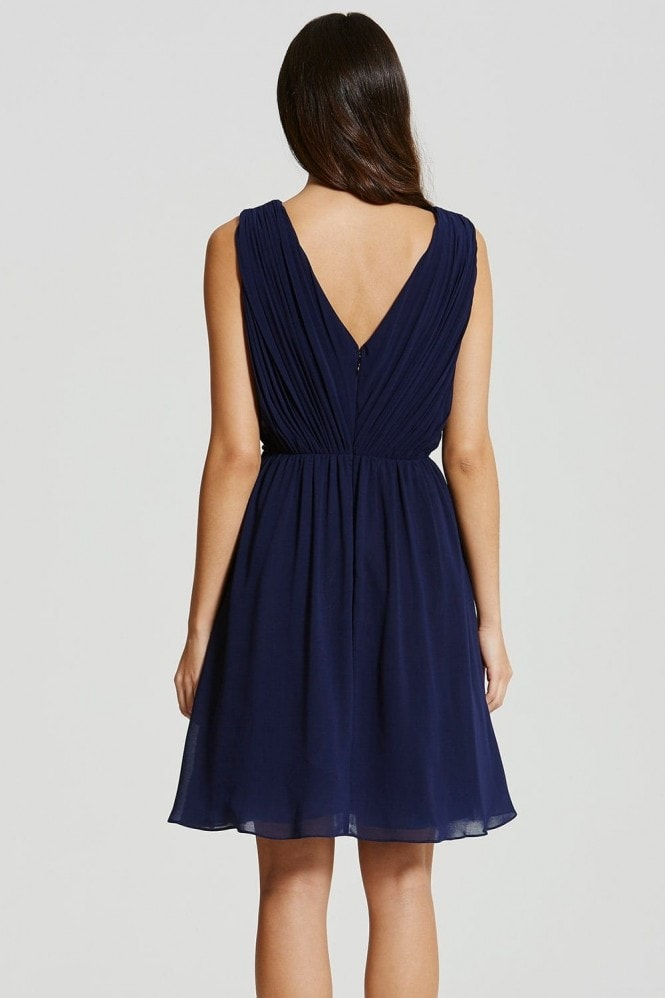 Navy and Black Applique Crossover Dress