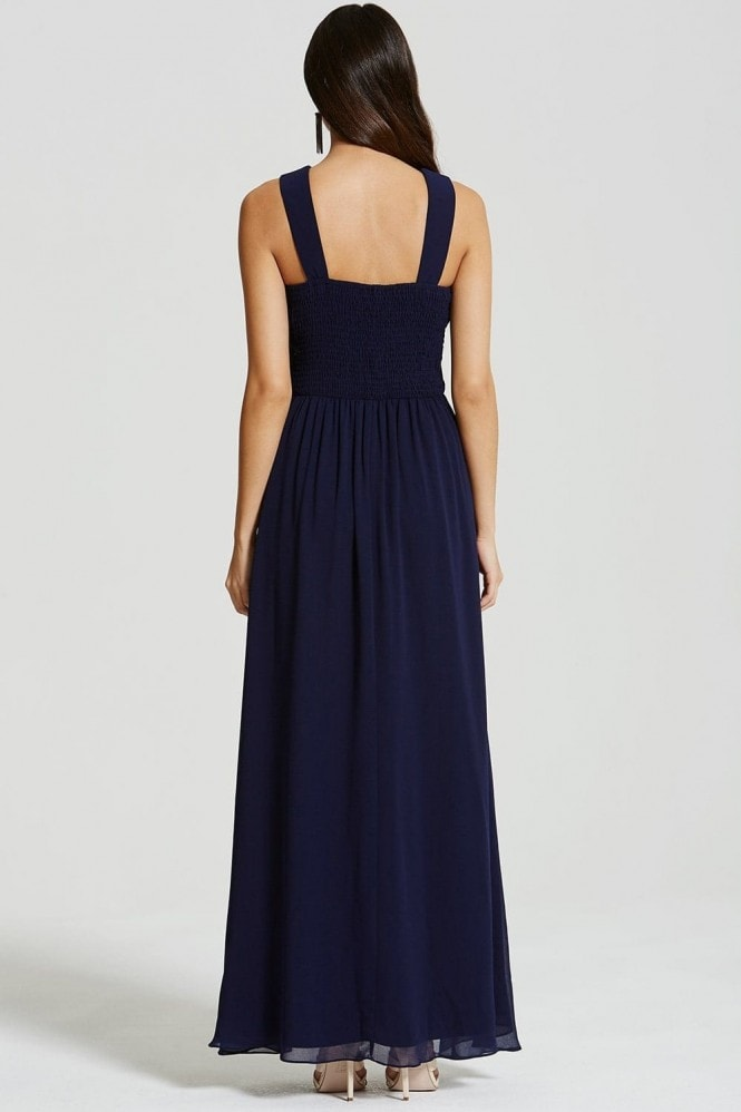 Little Mistress Navy and Black Applique Crossover Maxi Dress